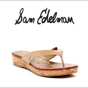 "Sam Edelman ""Tanya"" cork wedge thong sandals EUC"
